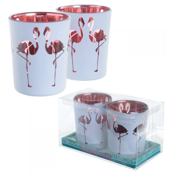 Zestaw 2 świeczników flamingi