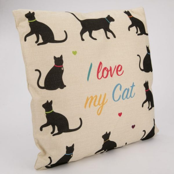 Poduszka z juty- I love my cat 43x43