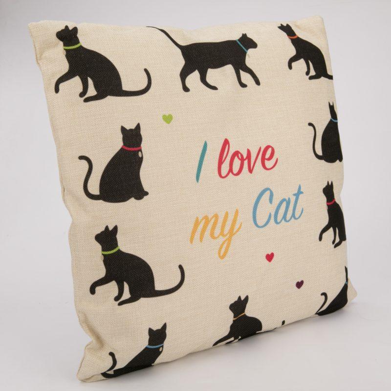 Poduszka z juty- I love my cat 43x43