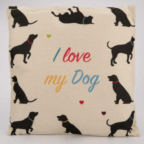 Poduszka z juty- I love my dog 43 x 43