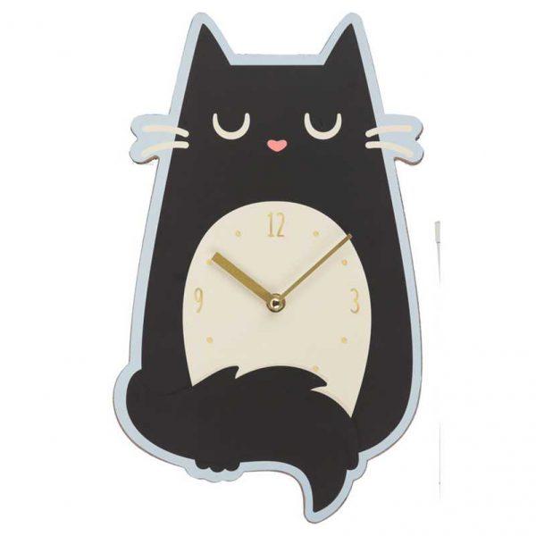 Zegar czarny kot