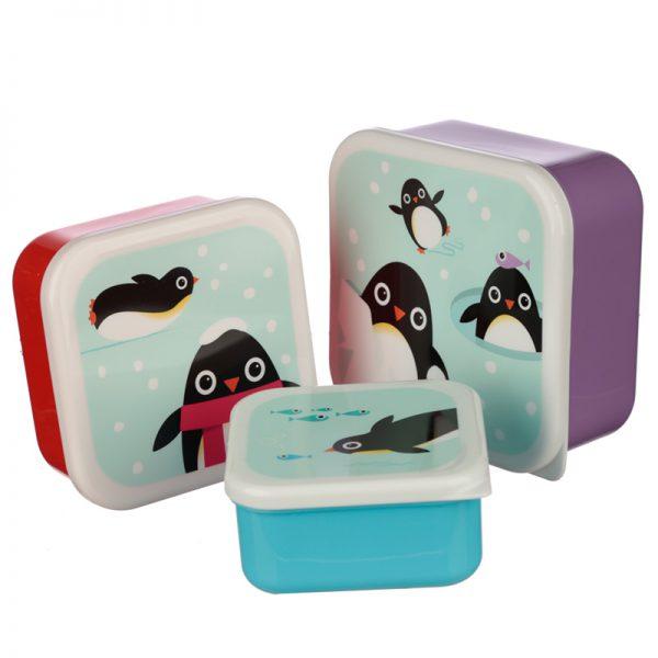 Zestaw 3 pojemników pingwin