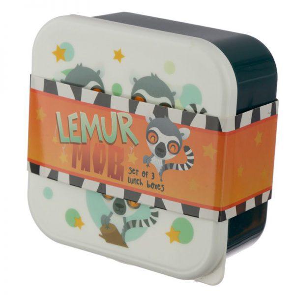 Zestaw 3 pojemników lemur
